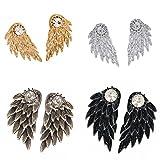 MagiDeal 4 Paar Frauen Schmuck Engel Flügel Ohrringe Stud Doppelseitig - Mode Schmuck
