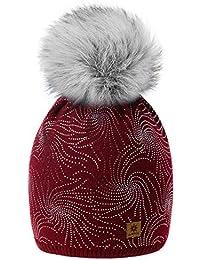 3bad70e2a78b6b MFAZ Morefaz Ltd Damen Winter Beanie Strickmütze Mütze Wurm Fleece Design  Lola Bommel Pom Pom Fashion