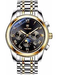 Relojes automáticos Deportivos para Hombre con Correa de Acero Inoxidable  Luminosa de Fase Lunar e5e070a373db