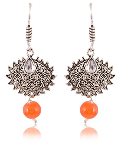 G.S Jewelers Orange Oxidized Silver Dangle & Drop Earrings for Women (GSJ0010)