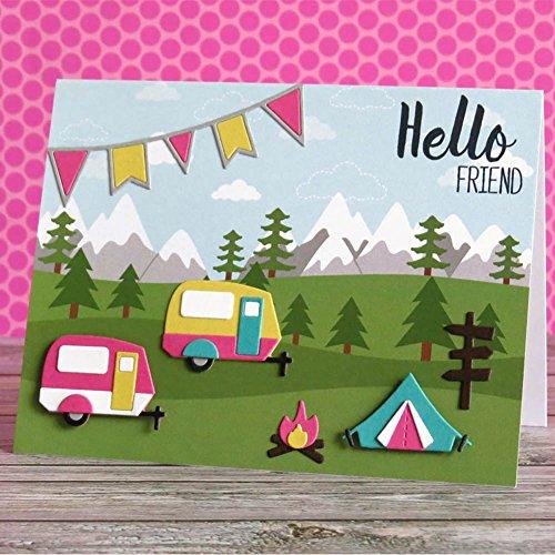 rokoo Camping Fire Set Zangen Schneidebrett aus Metall Schablone für Basteln Scrapbooking Album Foto Papier Karten Decor Craft