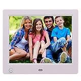 LKJNB Marco Digital de la Foto de 8inch HD, detección Humana, botón de la Pantalla Delantera, Senso de Alta definición Creativo, para el Dormitorio casero,White