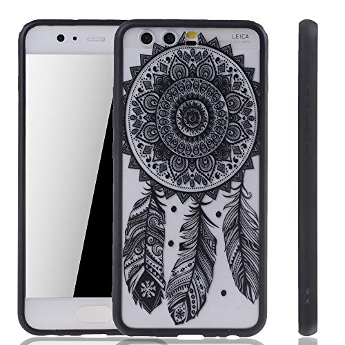 könig-shop Funda para móvil Mandala para Huawei P10 Funda de diseño FUNDA PROTECTORA motivo Atrapasueños Cubierta De Silicona Bolsa De Parachoques Negro