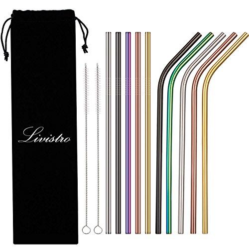 Livistro farbige Premium Edelstahl Trinkhalme Wiederverwendbare Strohhalme Set mit 10 Metalltrinkhalme und 2 kostenlosen Reinigungsbürsten im Stoffbeutel