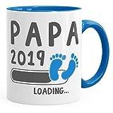 MoonWorks Kaffee-Tasse Papa 2019 Loading Geschenk-Tasse für werdenden Papa Schwangerschaft Geburt Baby Tee-Tasse Blau Unisize