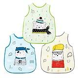 Little Dimsum Lätzchen Baby Kleinkind Lätzchen Wasserdicht Kurzarm Lätzchen Fütterung Lätzchen Schürze mit eingebauten Tasche für Babys/Kleinkinder (Bären)