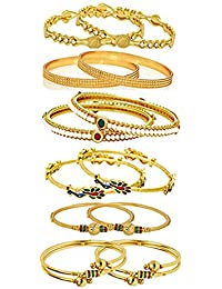 Zeneme Combo Of Victoria Bangle Set, Pearls Bangle Set, Trendy Gold Plated And Coinage Bangle Set For Women -...
