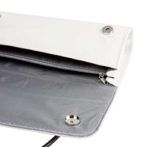 BMC - Borsetta clutch da donna in similpelle con tracolla Bianco accattivante