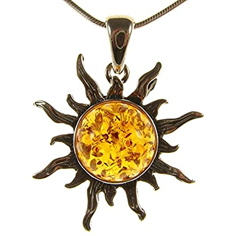 Baltic amber and sterling silver 925 cognac sun pendant jewellery