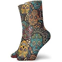 Zhengzho Calcetines transpirables mexicanos Zuccheri Calavera Crew Sock Exotic mujeres y hombres modernos estampados deportivos calcetines atléticos 30 cm (11,8 pulgadas)