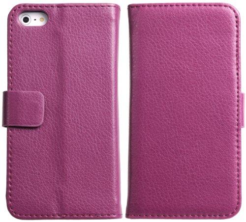 DONZO Handyhülle Flip Cover Case für das Apple iPhone 5 / 5S in Blau Flip Structure als Etui seitlich aufklappbar im Book-Style Wallet Structure Violett