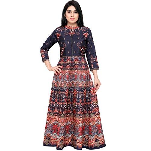 SHELINA Women Nevy Blue Printed Banglory Silk SemiStitched Partywear Dress