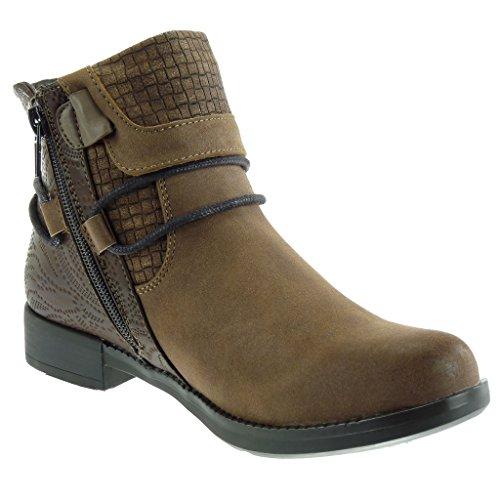 Angkorly - damen Schuhe Stiefeletten - Reitstiefel Kavalier - Low boots - Krokodil - String Tanga - Fertig Steppnähte Blockabsatz 3 CM Khaki