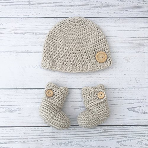 beige crochet baby hat booties matching set
