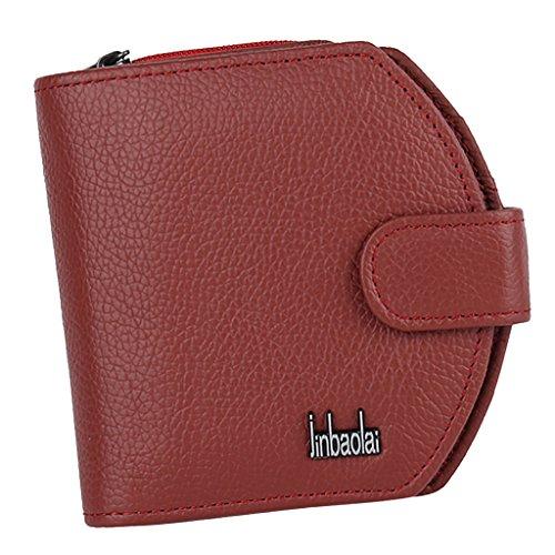 Portmonee Portemonnaie Leder Damen Geldbörse Mit Münzfach Geldbörse Kartenfach Geldtasche Für Damen - Rot, one size -