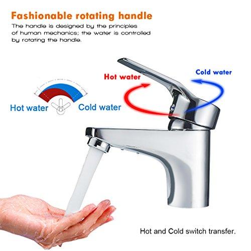 Auralum® Design Einhebel Wasserhahn Armatur Waschtischarmatur Einhandmischer für Badezimmer Waschbecken - 3