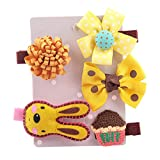 SHOBDW Girls Hair Clips, 5PCS Kids Infant Hairpin Baby Girl Cute Bow Cartoon Motifs Party Hair Clip Set