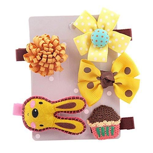 SHOBDW Girls Hair Clips, 5PCS Kids Infant Hairpin Baby Girl Cute Bow Cartoon Motifs Party Hair Clip Set