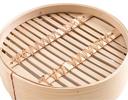 Natürlicher Bambus Grünen Bambus-Dampfer Chinesische Eigenschaften Bergige Bambusdämpfer Dämpfe Küchenschublade Einen Ring Eine Abdeckung,Beige-17.8cm