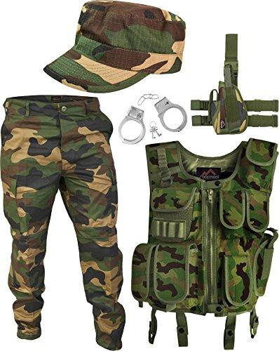Soldat Grüne Kostüm Armee - SWAT Kostüm Army Woodland bestehend aus Weste, Hose, Pistolenholster, Cap und Handschellen Größe XL