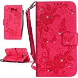 IBEQUANIC Coque Samsung Galaxy A3 2016, Premium Bling Bling Etui (Gaufrage Design) Housse pour Samsung Galaxy A3 (2016) SM-A310F Rose