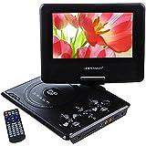 """DBPOWER Reproductor de DVD Portátil de 7.5"""" con Pantalla Giratoria, 5 Horas recargable incorporada de la batería, Compatible con Tarjetas SD y USB, con el cargador del coche y dispositivo de juego - Negro"""