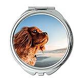 Yanteng Spiegel, Compact Spiegel, Hund Tier Haustier Strand Küste Sunny Sommer, Taschenspiegel, Tragbare Spiegel