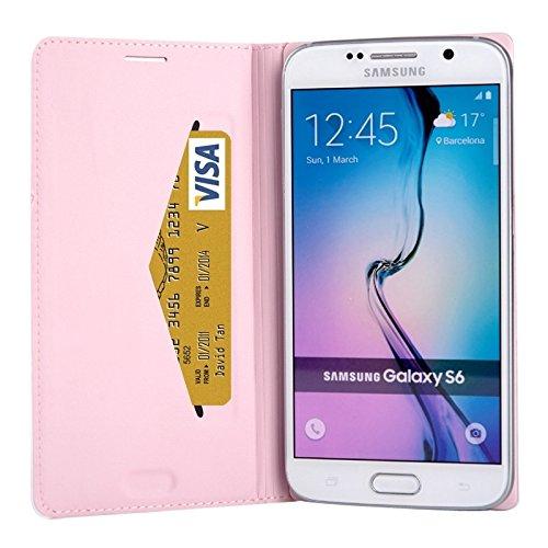wkae Schutzhülle Fall & Schutzhülle für Samsung Galaxy S6Litchi Textur Horizontal Flip Leder Schutzhülle mit Kredit Karte rose