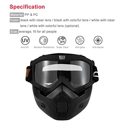 KKmoon Gafas Desmontable Máscara del Moto Filte de Boca para Cascos Abierto...