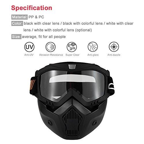 KKmoon Gafas Desmontable Máscara Moto Filte Boca