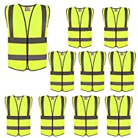 ZOJO High Visibility Reflective Vests,Adjustable Size,Lightweight Mesh Fabric, Wholesale Safety Vest for Outdoor Works, Cycling, Jogging, Walking,Sports - Fits for Men and Women