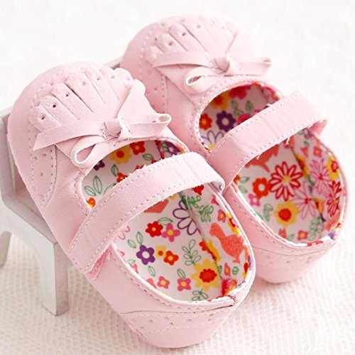 Ouneed® 0- 18 mois Bebe Papillon Noued Premier Pas Frange Mini Mary Jean (13cm, Rose) Rose