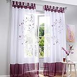 Souarts Stickerei Gardine Vorhang mit Schlaufen Transparent Schlaufenschal für Wohnzimmer Schlafzimmer Studierzimmer 1er