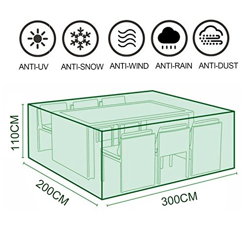 MOVEONSTEP Funda para Muebles de Jardín Impermeable Rectangular Cubierta Protectora para Sillas...