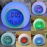 LED Digital Color 7 que cambia despertador term—metro sonido de la naturaleza