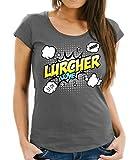 WOMEN T-Shirt - LURCHER Hybridhund Windhund Hund Hunde Iralnd Dieb - COMIC Cartoon Fun Siviwonder dark grey L -38