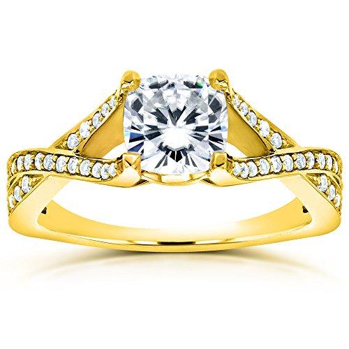 Deco Art-Cuscino Moissanite, con diamante e anello di fidanzamento (ctw) 11/4 di carato, in oro giallo da 14 k, Oro giallo, 25, cod. MZ62032CU-1E-Y_11.0
