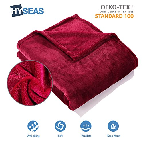 HYSEAS Fleece Throw Blanket, 150 x 200 cm, Red, Super Soft Warm and Cuddly, Lightweight, Breathable, Suitable for Sofa, Bed and Chair