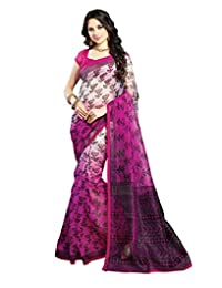 IndiWeaves Women Super Net Printed Off White+Pink Saree