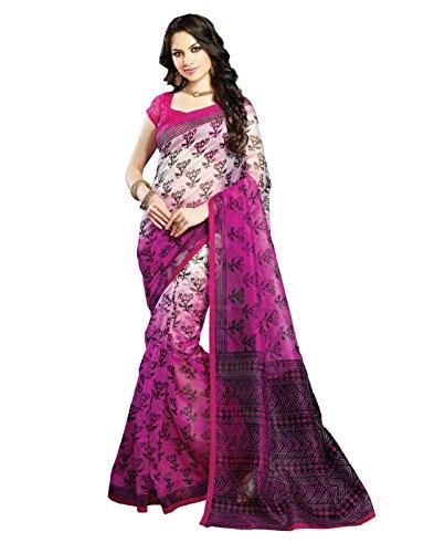 IndiWeaves Women Super Net Printed Off White+Pink Saree