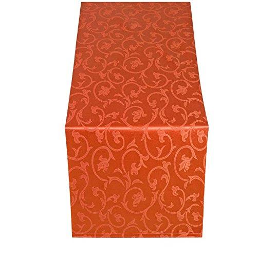 Moderno Barock Tischläufer Tischband 40x170 cm im Damast Stil Farbe 'Orange'