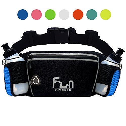FunH2OBelt (Blau - Groß) Trinkgürtel Hydration Laufende Band mit Wasser Flaschen 175 ml - Hüfttasche für Outdoor und Sport, mit Wasserdichten Tasche für iPhone, iPod, Samsung & alle Smartphones (Ipod-wasser)