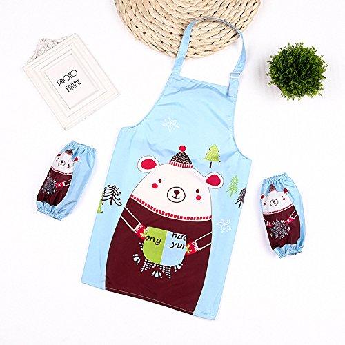 SunnyGod Hausfrau-Schürze Animals Printed Schürze Anzug - Waterproof Schürze mit Ärmeln (blau)