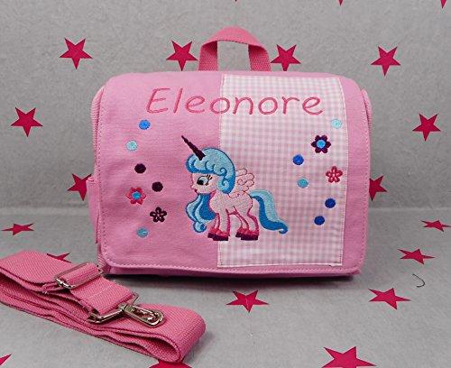 pinkeSterne ☆ Kindergartentasche Kindertasche Multi-Tasche Rucksack Umhängetasche Einhorn Rosa - Pferde-leder Tasche