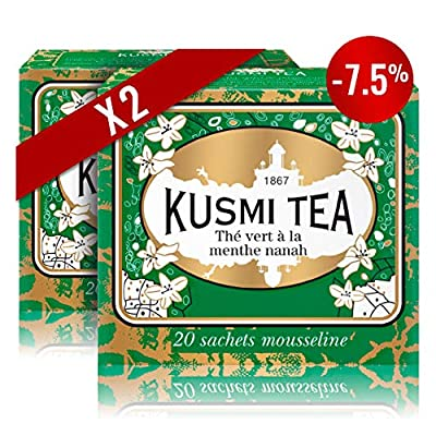 Kusmi Tea - Lot de 2 boîtes de thé vert à la menthe Nanah - 2 x 20 sachets - Aussi idéal en Glacé
