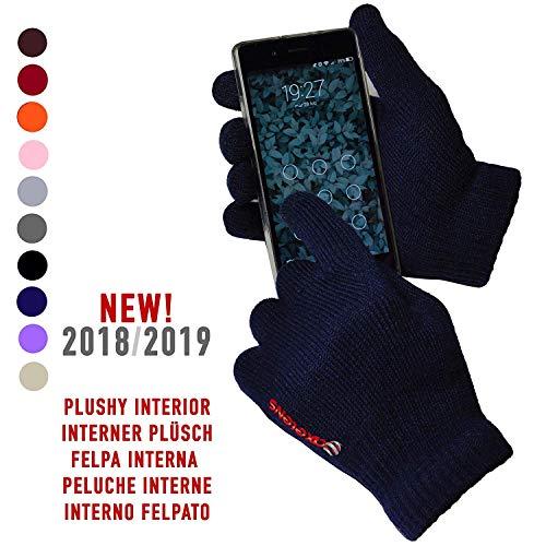 AXELENS Guanti Touch Screen CAPACITIVI per Usare Il Tuo Smartphone Senza DOVERLI TOGLIERE! - UNIVERSALI Unisex - Caldo Tessuto Elasticizzato - Blu