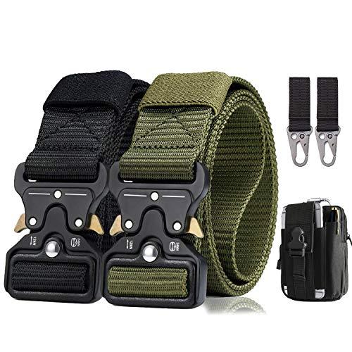 BESTKEE Cinturón táctico para hombres 1.5 pulgadas, estilo militar Cinturón con hebilla Cobra con cierre rápido de hebilla de metal, regalo con bolsa táctica Molle y gancho (Negro + Verde militar)