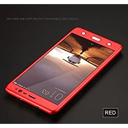ERIT Full Body Protection 360 Degree ipaky Hard Case Hybrid Front + Back Case Cover & Tempered Glass For Oppo A37 A37F - Red