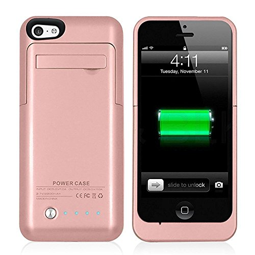 Muze - Cover con caricabatteria di backup 2200 mAh per iPhone 5G 5C 5S (compatibile con iOS 7 o Superiore) + Porta di Ricarica Lightning + Supporto + Inserto scorrevole sottile + protezione Full Body + interruttore ON/OFF LED indicatore livello batteria
