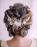 Simsly Bride Blume Hochzeit Haar Weinrebe Silber Hochzeit Haarschmuck Kristall Brautschmuck Kopfschmuck Blatt für Frauen und Mädchen